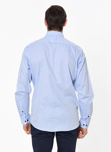 Beymen Business Kareli Uzun Kollu Gömlek Mavi
